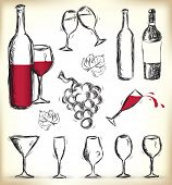 Collection of hand-drawn glasses, bottles of wine and grapes - JPG version of a vector illustration from my portfolio poster