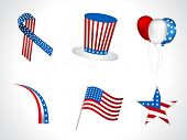 Sets of objects like hat, ballons, ribbons,  flag, batch for Independance Day and other events isolated on white background. EPS 10. poster
