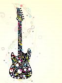Colorful guitar decorated with floral and musical notes on abstract, wave background, EPS 10. can be use as flyer, banner or posters for musical events. poster