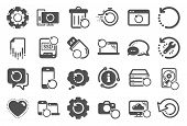 Recovery icons. Backup, Restore data and recover document. Laptop renew, repair and phone recovery icons. Drive fix, restore information and return data. Backup document. Quality set. Vector poster