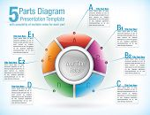 Multicolor segmented wheel template for presentations with five parts with attached text information boxes poster