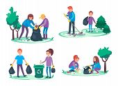 Boys and girls take away litter and garbage. Environmental cleanup concept. Group of People making a forest or park clean or tidy. Ecological vector illustration cartoon flat poster