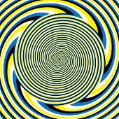 A hypnotic spiral pattern is featured in an abstract background illustration of the illusory motion variety. poster