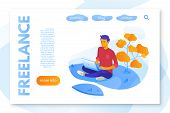 Freelance service landing page flat vector template. Freelancer portfolio website, webpage. Young man working with laptop cartoon character. Remote job color web banner concept illustration poster