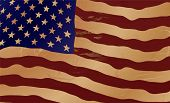 Close up of the American flag in aged shades of brown poster
