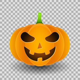Smiling Angry Cartoon Pumpkin For Halloween Isolated On A Transparent Background. Vector Illustratio