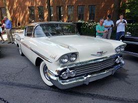 July 14, 2019, Chicago, Il Street Auto Show, 1958 Creme Chevrolet Impala