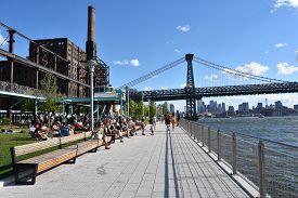 Brooklyn, Ny - Jun 30: View Of Williamsburg Bridge From Domino Park In Williamsburg In Brooklyn, New