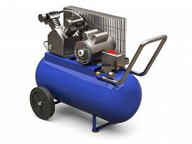 Blue Horizontal Air Compressor Isolated On A White Background. 3d Illustration.