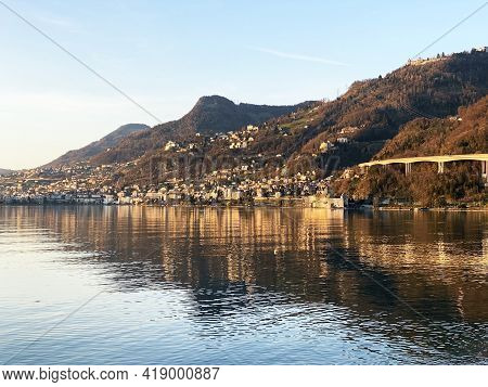 View Of The City Of Montreux (muchtern) On The Shores Of Lake Geneva And At The Foot Of The Vaud Alp