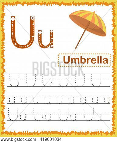 Vector Illustration Of Exercises With Cartoon Vocabulary For Kids. Colorful Letter U Uppercase And L
