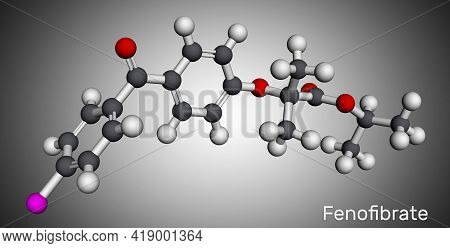 Fenofibrate Molecule. It Is Drug, Used To Lower Cholesterol Levels In Patients At Risk Of Cardiovasc