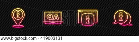 Set Line Monitor With Faq Information, Location, Question And Answer And Information. Glowing Neon I
