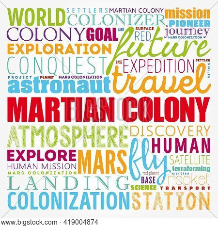 Martian Colony Word Cloud Collage, Science Concept Background