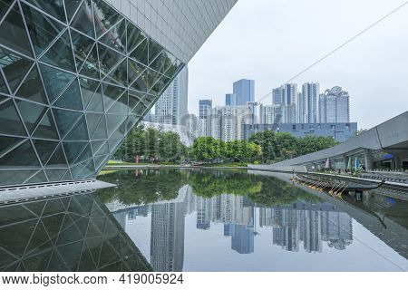 Guangzhou Opera House In Guangzhou, China On October 23, 2018. Guangzhou Opera House Is A Landmark B
