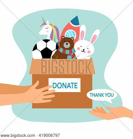 Sharing Toy To Children. Toy Donation Concept. Hand Holding Box Full Of Dolls And Toy In Flat Design