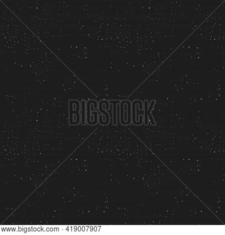 Abstract Seamless Pattern Of Small White Particles On A Black Background. Starry Sky. Dust Texture.