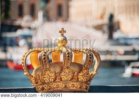 Stockholm, Sweden. Skeppsholmsbron - Skeppsholm Bridge With Its Famous Golden Crown. Popular Place L