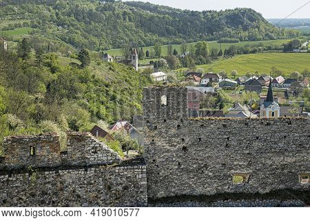 View From Beckov Castle To The Village And Country, Slovak Republic, Europe. Travel Destination.