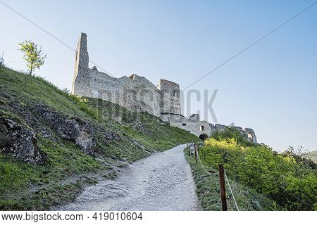 Cachtice Castle Ruins, Slovak Republic, Central Europe. Seat Of Bloody Countess. Travel Destination.
