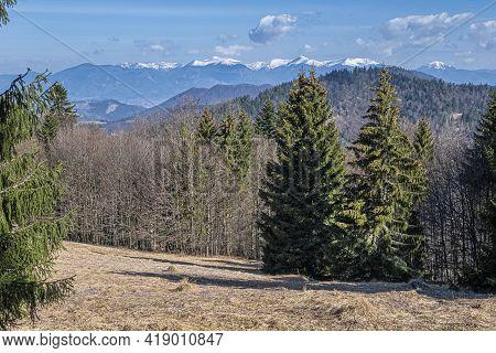 Little Fatra From Big Fatra Mountais, Slovak Republic. Hiking Theme. Seasonal Natural Scene.