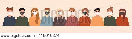 Group of people wearing medical masks to prevent disease, flu, coronavirus, covid-19, air polution, contaminated air, and world polution. Vector illustration, seamless pattern in modern flat style.