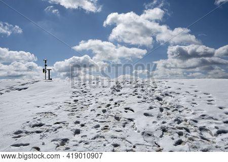 Top Of Lysec Hill, Big Fatra Mountains, Slovak Republic. Hiking Theme. Seasonal Nature.