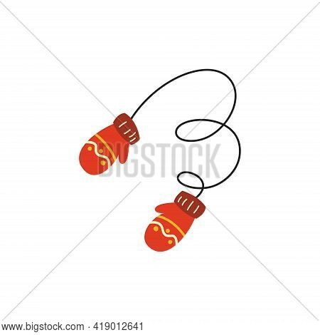 Vector Illustration Of A Pair Of Knitted Christmas Mittens On A White Background. Mittens Icon. Chri