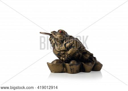 Chinese Feng Shui Lucky Money Frog With Coin Isolated On White Background. Bronze Frog Coins Asia Ch
