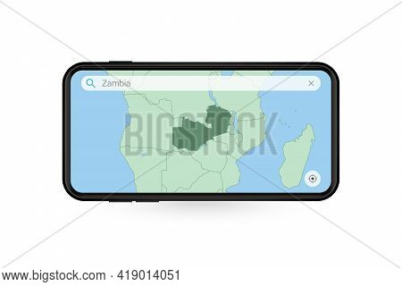 Searching Map Of Zambia In Smartphone Map Application. Map Of Zambia In Cell Phone. Vector Illustrat