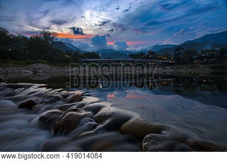 Landscape Image Of Brook And Rocks In The Valley At Kiriwong Village, Nakorn Sri Thammarat, Thailand