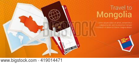 Travel To Mongolia Pop-under Banner. Trip Banner With Passport, Tickets, Airplane, Boarding Pass, Ma