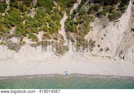 Aerial View Of Coastline With Blue Sea And Highest Cliff. Summer Day On Black Sea