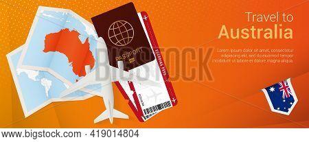 Travel To Australia Pop-under Banner. Trip Banner With Passport, Tickets, Airplane, Boarding Pass, M