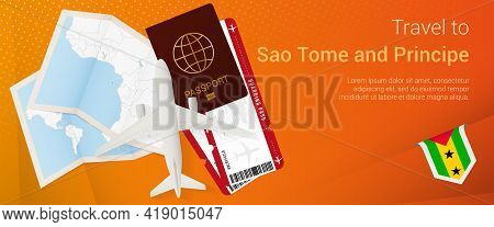 Travel To Sao Tome And Principe Pop-under Banner. Trip Banner With Passport, Tickets, Airplane, Boar