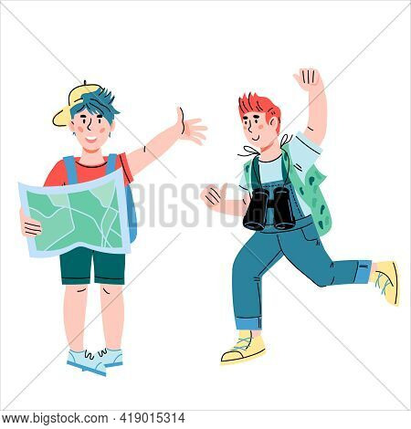 Children Little Explorers And Travelers Ready For Summer Adventure. Boy Scouts In Summer Kids Camp,