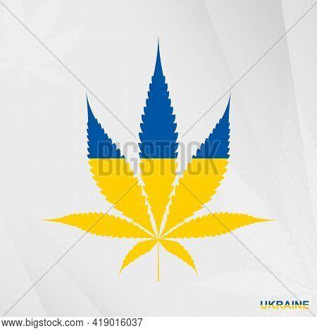 Flag Of Ukraine In Marijuana Leaf Shape. The Concept Of Legalization Cannabis In Ukraine. Medical Ca