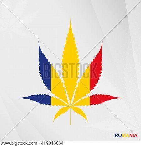 Flag Of Romania In Marijuana Leaf Shape. The Concept Of Legalization Cannabis In Romania. Medical Ca