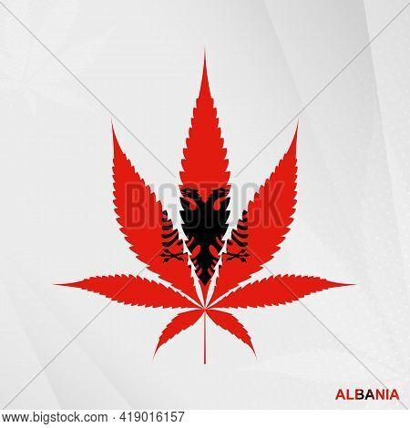 Flag Of Albania In Marijuana Leaf Shape. The Concept Of Legalization Cannabis In Albania. Medical Ca