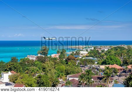 Aerial View Of Sunny Beach In Tropical Caribbean Island. Jamaica Beach In Montego Bay.