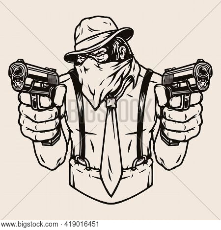Vintage Concept Of Dangerous Gorilla Mafioso Wearing Fedora Hat Tie Bandana Scarf Shirt Trousers Wit