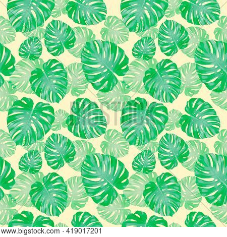 Tropical Leaves, Jungle Monstera Leaf Seamless Floral Green Pattern Background