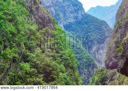 Canyon Of Balkans Mountains . Abyss Through The Mountains . Green Mountains Nature