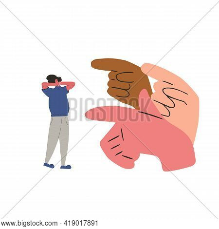 Bullying. Concussed Person Surrounded Symbols Blaming Her. Scared Person Putting Her Hands Over His