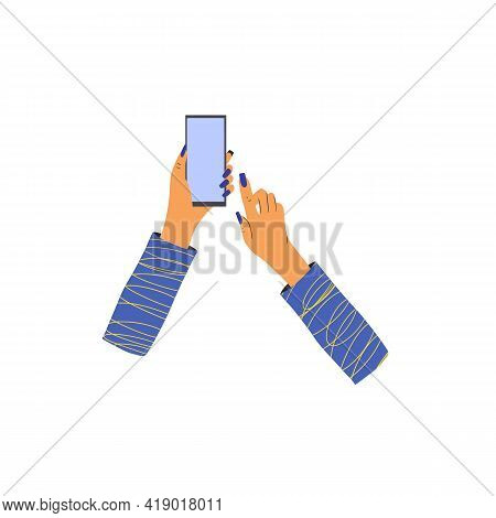 Human Hand Holding A Phone. Smartphone With Empty Screen Isolated On White Background. Vector Flat C