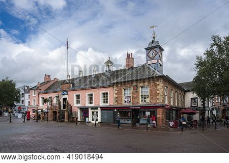 Carlisle, Cumbria, Uk, August 2020 - Street View Of The City Of Carlisle, Uk