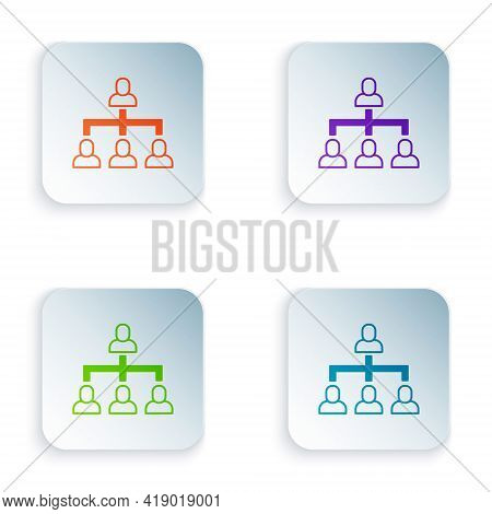 Color Business Hierarchy Organogram Chart Infographics Icon Isolated On White Background. Corporate