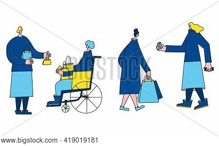 Set Of Female Characters With Shopping Bags. People Dressed In Casual Trendy Clothes Standing With P
