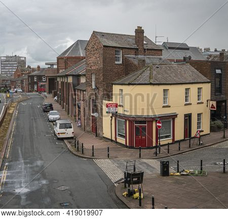 Carlisle, Cumbria, Uk, August 2020 - High Up View Of A Street And Buildings In The City Of Carlisle,
