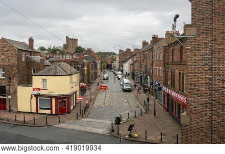 Carlisle, Cumbria, Uk, August 2020 - High Up View Of Abbey Street And Buildings In The City Of Carli